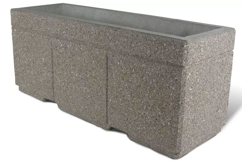 STONE-CAST 6′ Security Planter w/ Forklift Knockouts 72″L x 24″W x 30″H