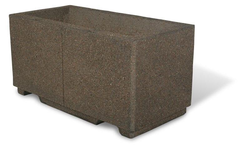 "STONE-CAST 4′ Square Concrete Planter, Square 48""L x 48""W x 24""H River Rock, with Fork Slots"