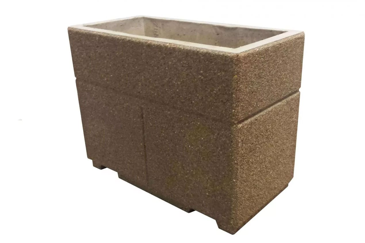 STONE-CAST 4′ Security Planters w/ Forklift Knockouts 48″'L x 24″W x 36″H