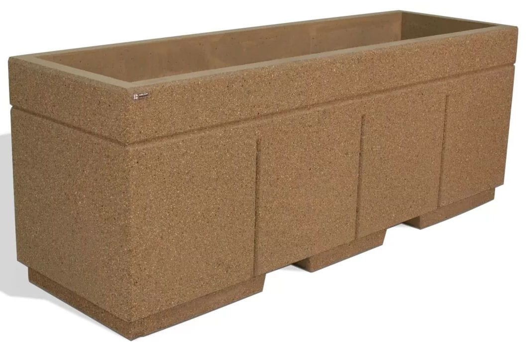 STONE-CAST High Security Planter Barrier w/Forklift Knockouts 96″L x 30″W x 36″H Weight: 2,700 lbs. 17/load
